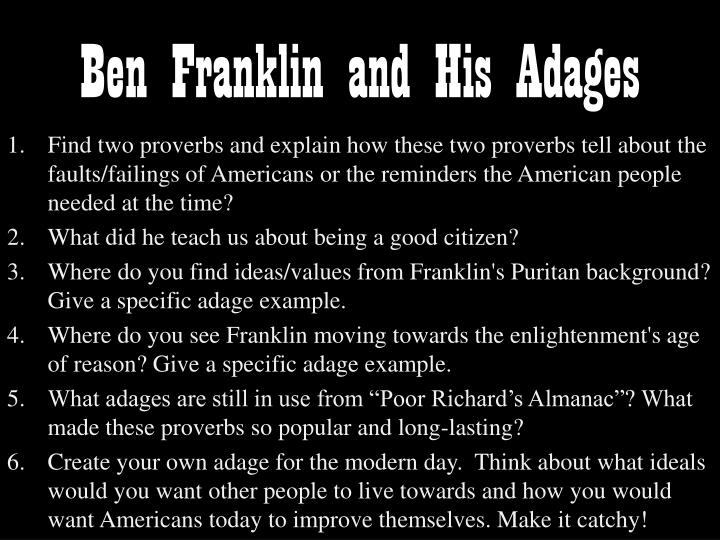 Ben Franklin and His Adages