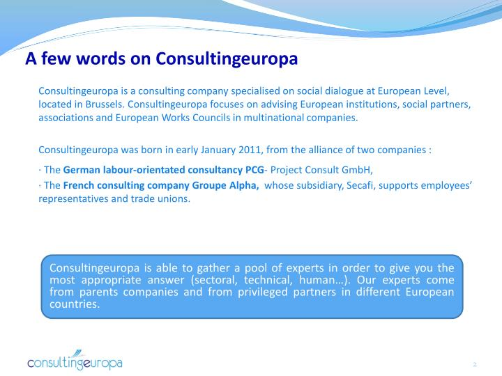 A few words on consultingeuropa