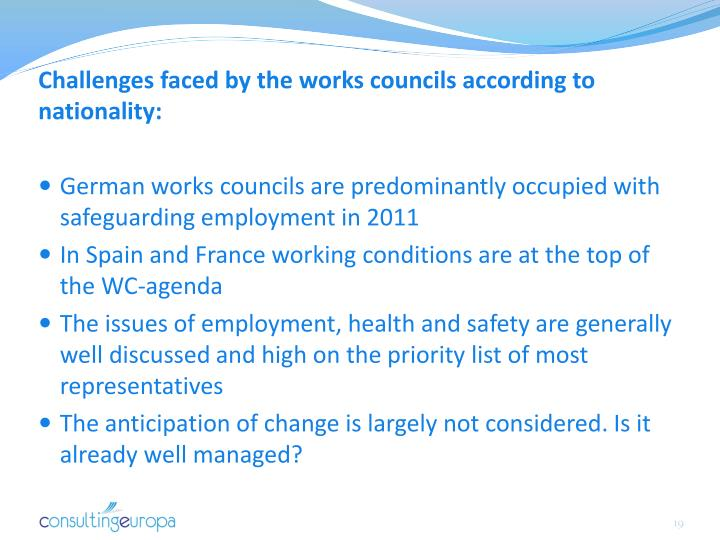Challenges faced by the works councils according to nationality: