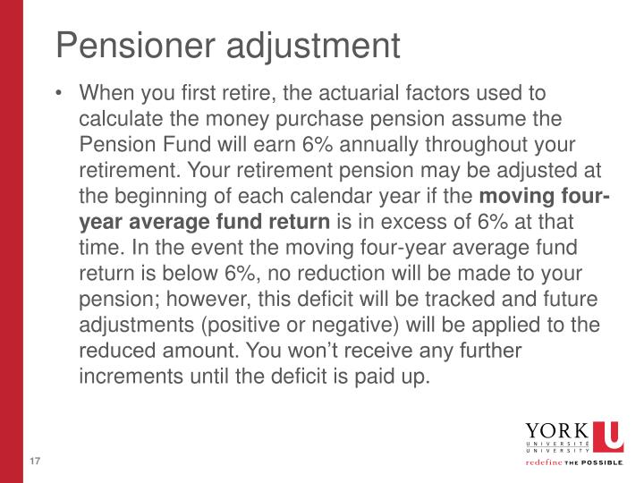 Pensioner adjustment