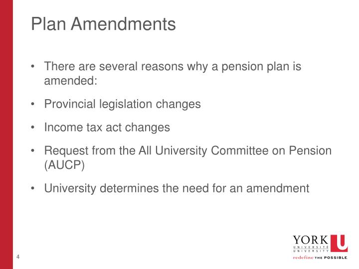 Plan Amendments