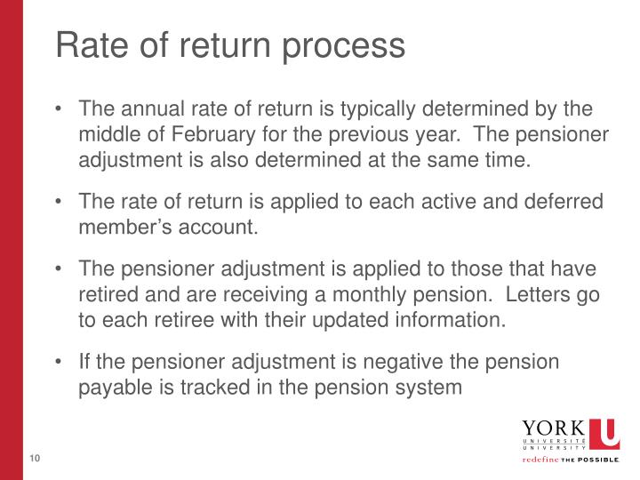 Rate of return process
