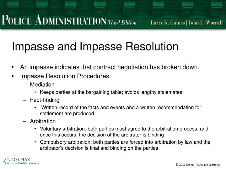 Impasse and Impasse Resolution