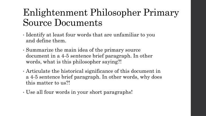 Enlightenment Philosopher Primary Source Documents