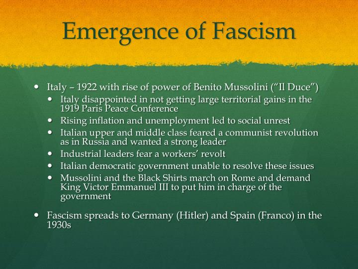 Emergence of Fascism