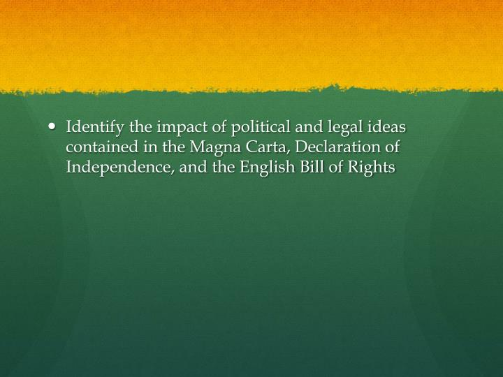 Identify the impact of political and legal ideas contained in the Magna
