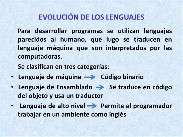 EVOLUCIÓN DE LOS LENGUAJES