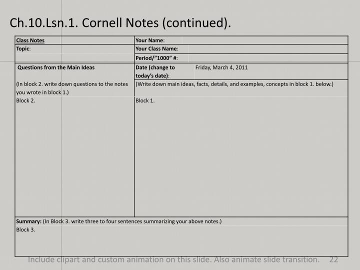 Ch.10.Lsn.1. Cornell Notes (continued).