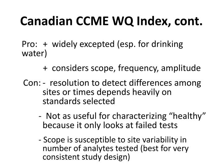 Canadian CCME WQ Index, cont.