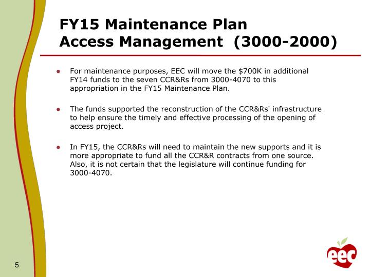 FY15 Maintenance Plan