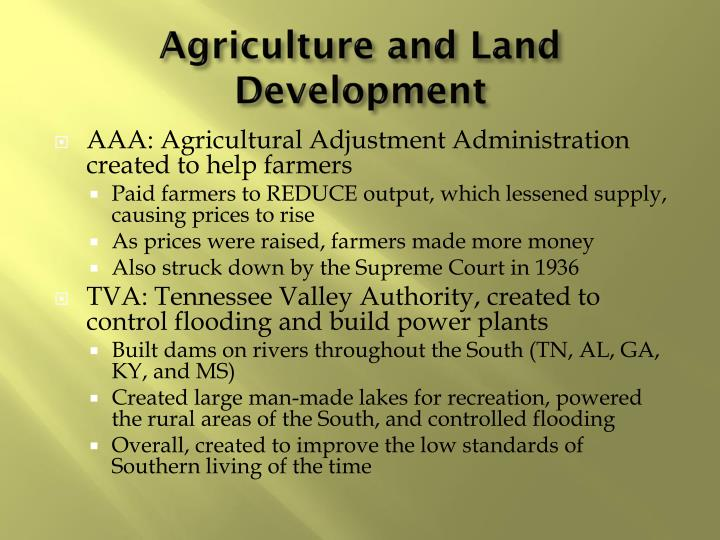 Agriculture and Land Development