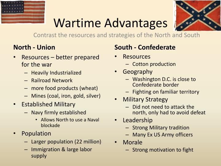 compare and contrast union and confederacy in civil war Free essay: the challenges that the union and the confederacy faced during the  civil war were very different critical weaknesses that.