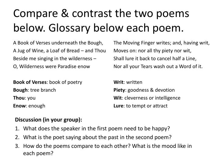 Compare & contrast the two poems below. Glossary below each poem.