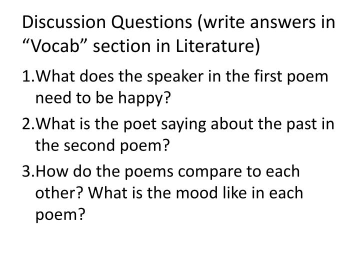 "Discussion Questions (write answers in ""Vocab"" section in Literature)"