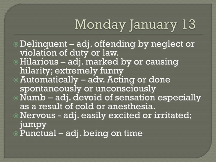Monday January
