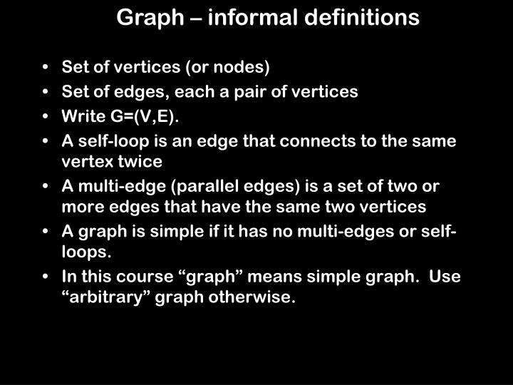 Graph – informal definitions