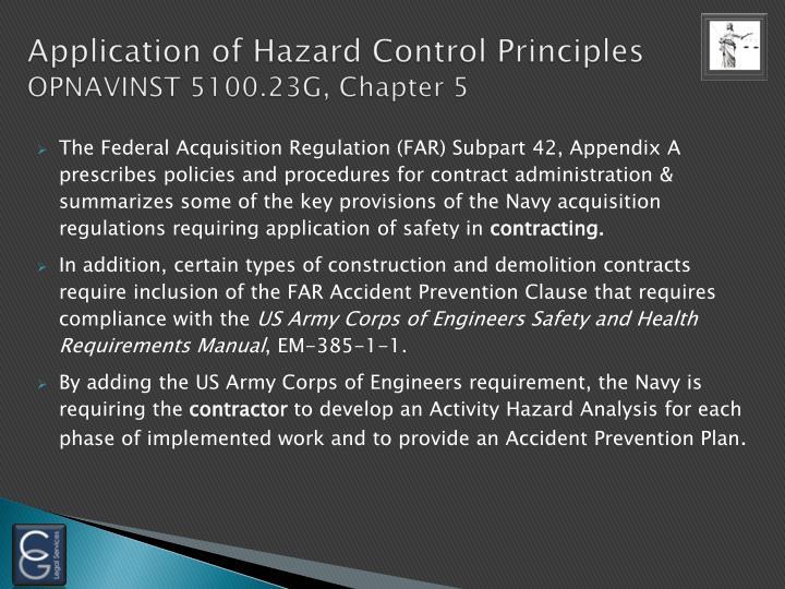 Application of Hazard Control Principles