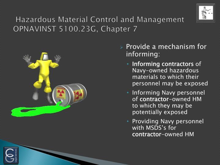 Hazardous Material Control and Management