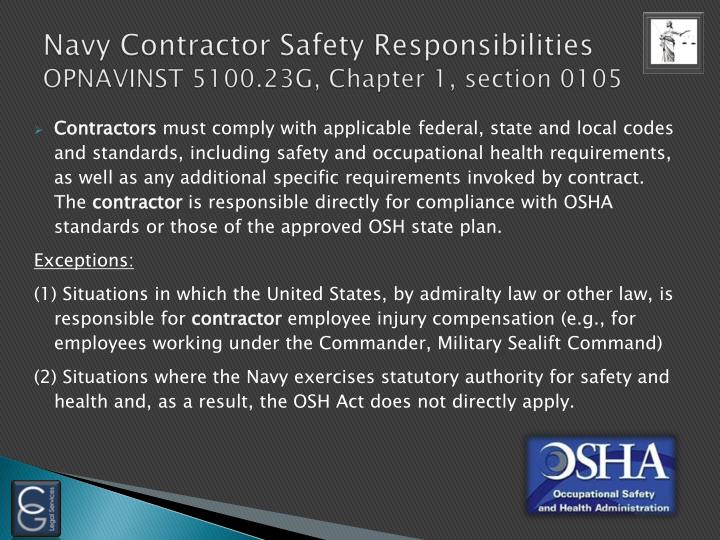Navy Contractor Safety Responsibilities