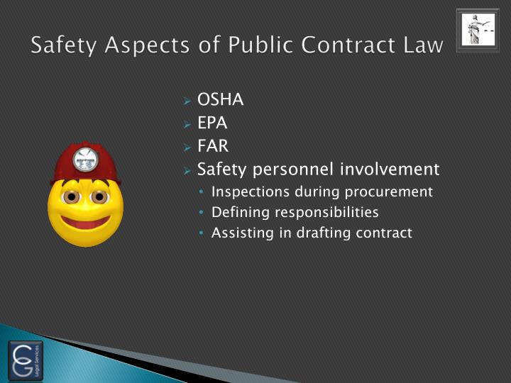 Safety Aspects of Public Contract Law