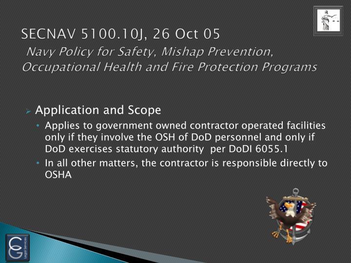 SECNAV 5100.10J, 26 Oct 05