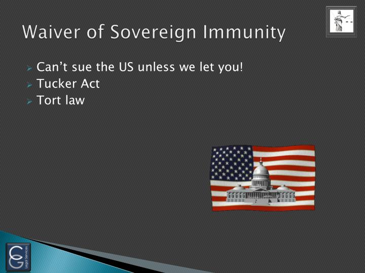 Waiver of Sovereign Immunity