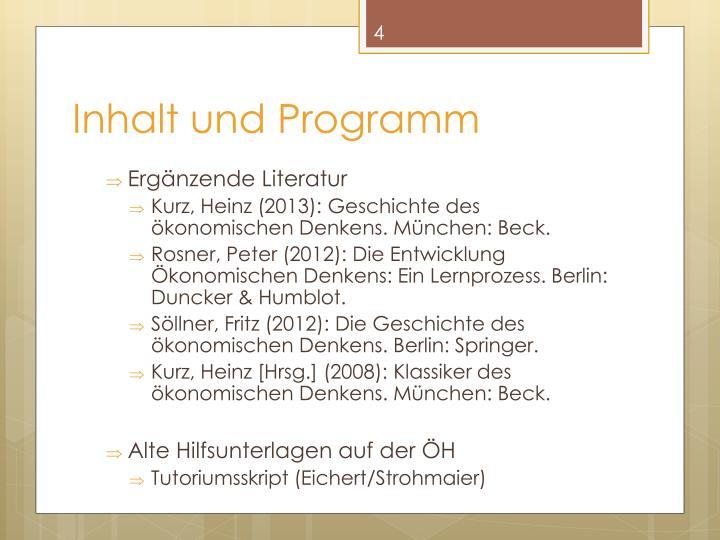 Inhalt und Programm