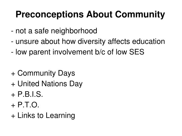 Preconceptions About Community