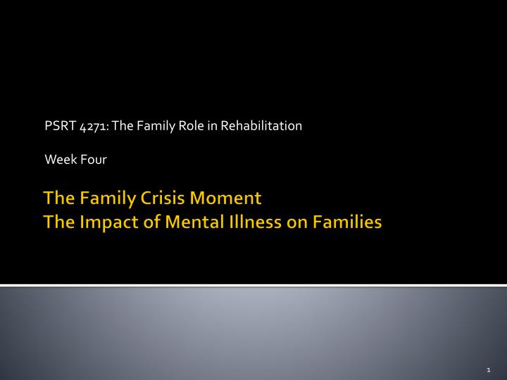 Psrt 4271 the family role in rehabilitation week four