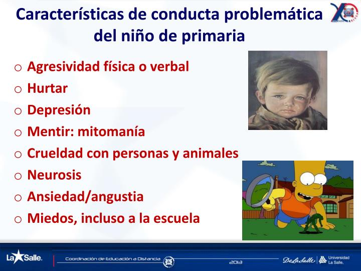 Características de conducta problemática del niño de primaria
