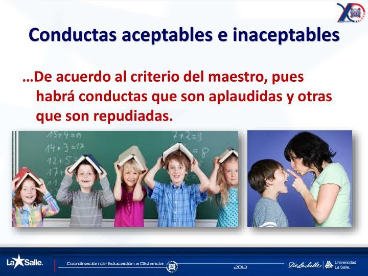 Conductas aceptables e inaceptables