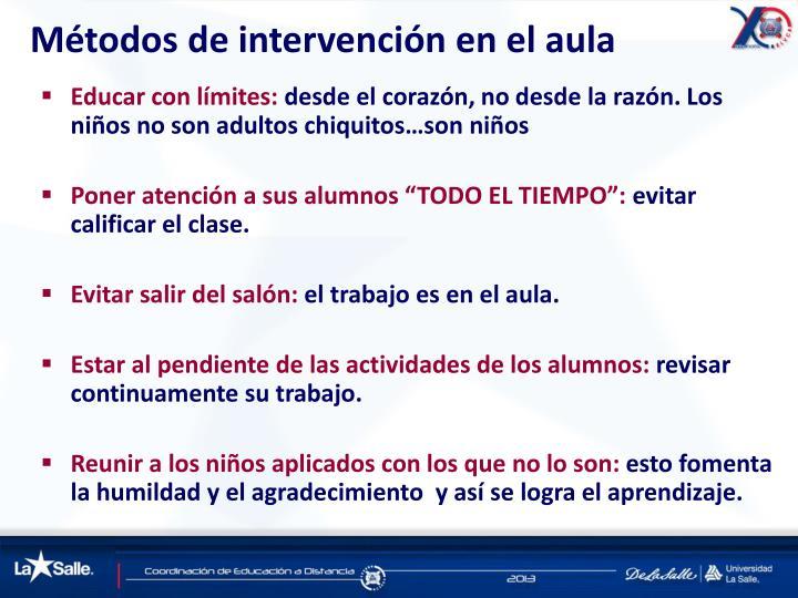 Métodos de intervención en el aula