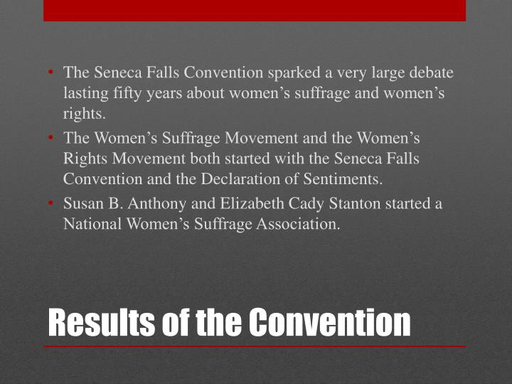 The Seneca Falls Convention sparked a very large debate lasting fifty years about women's suffrage and women's rights.
