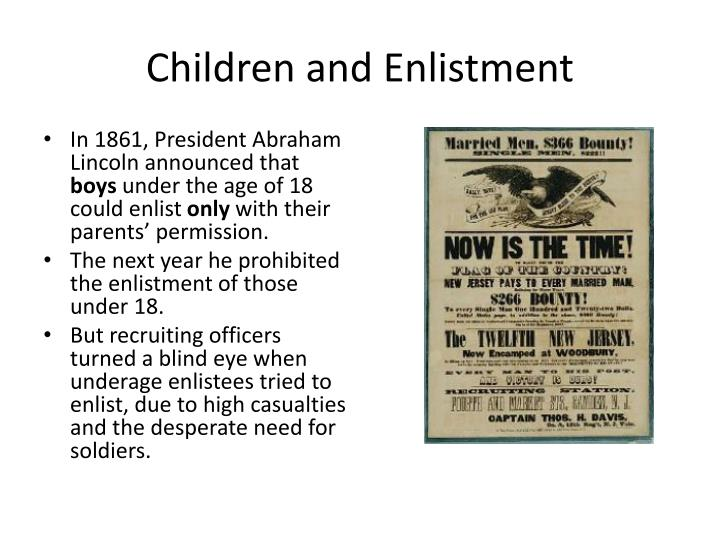 Children and enlistment