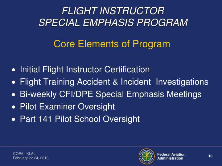 FLIGHT INSTRUCTOR                      SPECIAL EMPHASIS PROGRAM