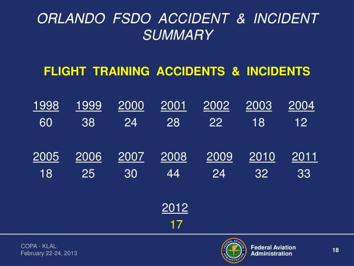 ORLANDO  FSDO  ACCIDENT  &  INCIDENT  SUMMARY