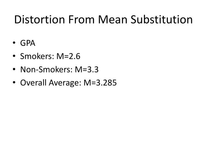 Distortion From Mean Substitution