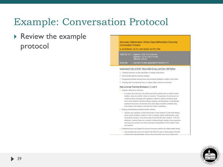 Example: Conversation Protocol