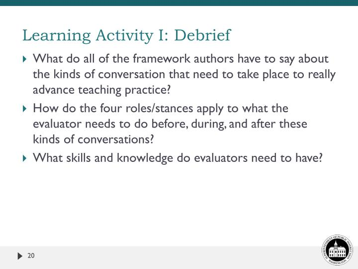 Learning Activity I: Debrief