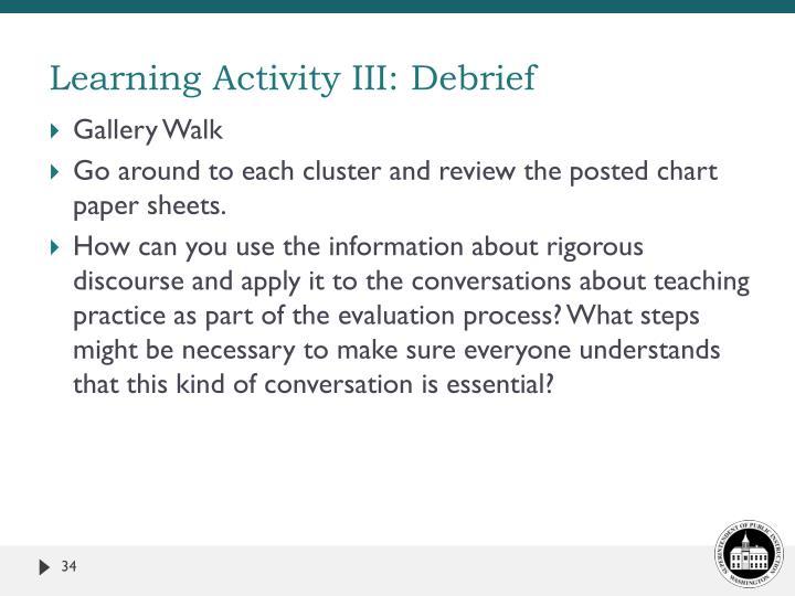 Learning Activity III