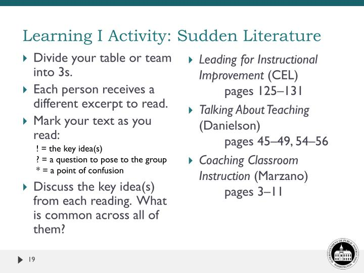 Learning I Activity: Sudden Literature