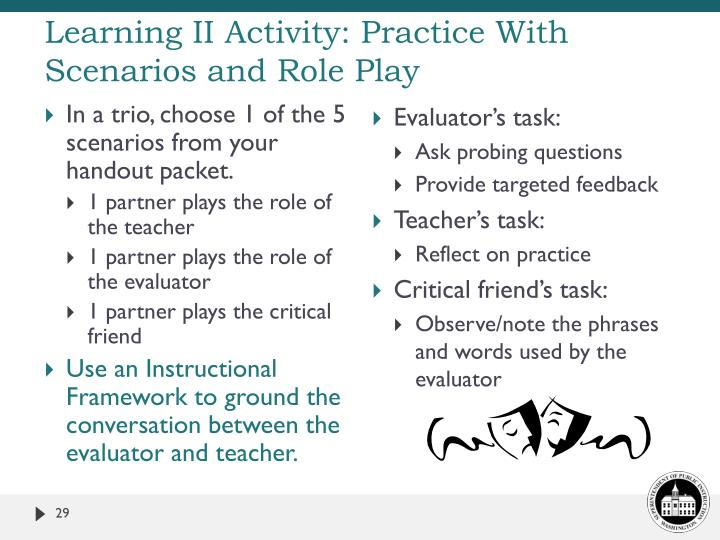 Learning II Activity: Practice With Scenarios and Role Play