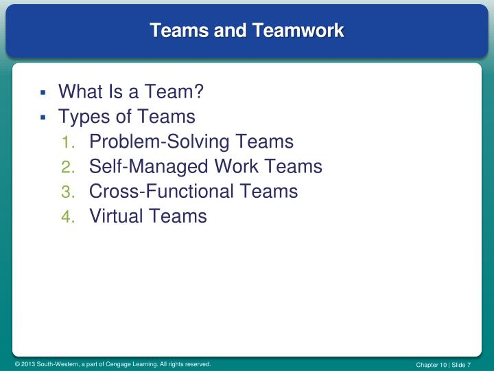 Teams and Teamwork