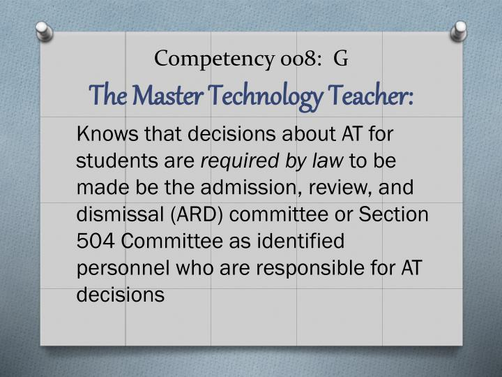 Competency 008:  G