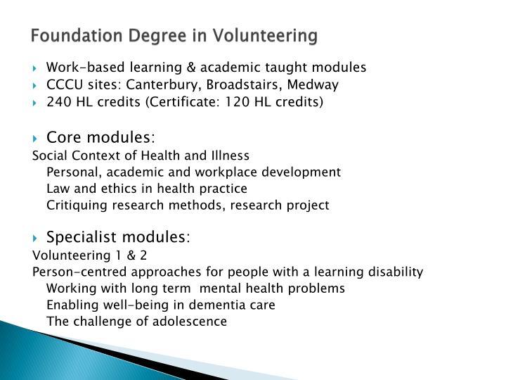 Foundation Degree in Volunteering