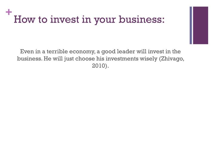How to invest in your business: