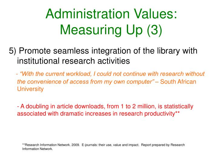 Administration Values: Measuring Up (3)