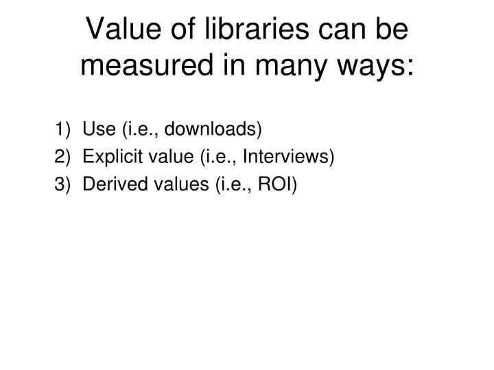 Value of libraries can be measured in many ways: