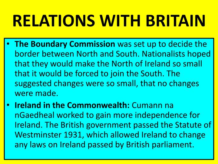 RELATIONS WITH BRITAIN