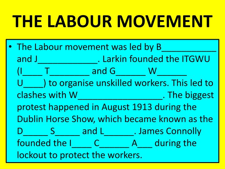 THE LABOUR MOVEMENT